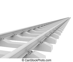 White railroad 3d rendering on white background