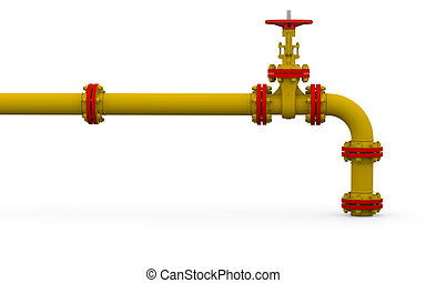 Yellow pipe and valve Isolated render on a white background