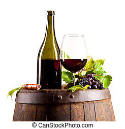 Wine on keg, isolated on white background - Red wine on...