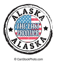 Alaska, The last frontier stamp - Grunge rubber stamp with...