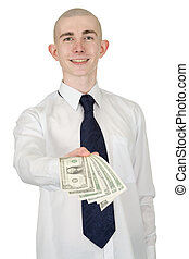 Smiling man with money in a hand