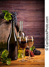 Wine with keg - Still life of wine with wooden keg