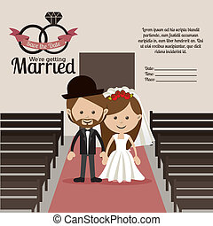 married design over church background vector illustration