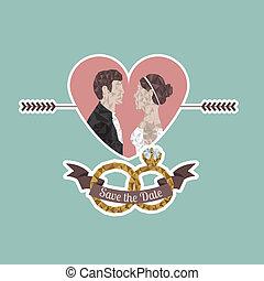 married design over blue background vector illustration