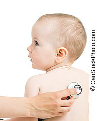 Pediatric doctor examining kid girl with stethoscope...