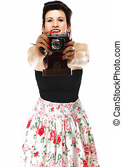 Pretty retro girl with vintage camera - pretty retro summer...