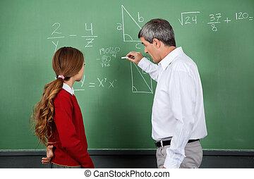 hembra, profesor, tabla, Estudiante, enseñanza, matemáticas