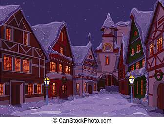 Christmas town street at night
