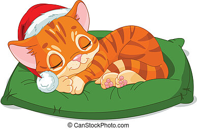 Christmas Kitten Sleeping - Cute little kitten with...