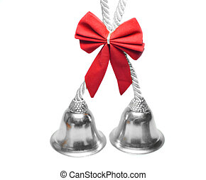 Real christmas bells with red bow - Real christmas bells...