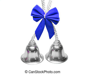 Real christmas bells with blue bow - Real christmas bells...