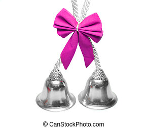 Real christmas bells pink bow - Real christmas bells with...