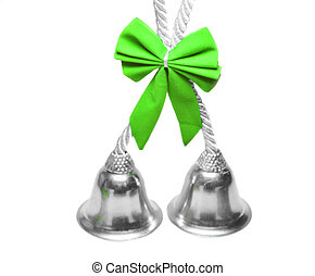 Real christmas bells green bow - Real christmas bells with...