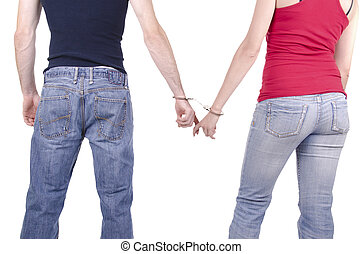 Man and woman hands in handcuffs. - Man and woman hands in...