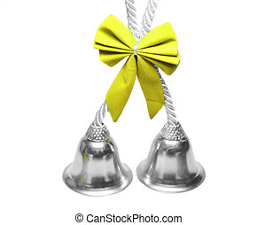 Real christmas bells yelllow bow - Real christmas bells with...