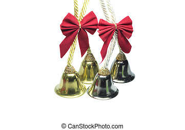 Four real christmas bells ribbon - Four real christmas bells...