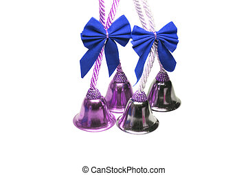 Four real christmas bells with blue ribbon bow on white...