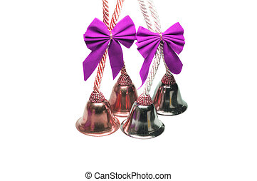 Four real christmas bells with pink ribbon bow on white...