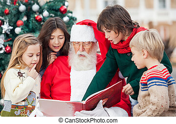 Santa Claus And Children Reading Book - Santa Claus and...
