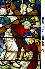 Calvary Stained Glass Window - Victorian stained glass...
