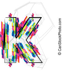 Font Illustration LETTER K Vector illustration