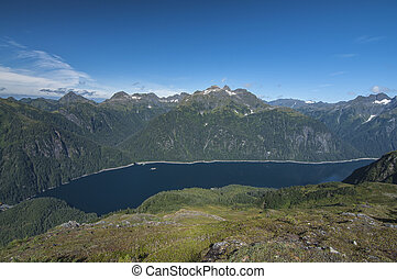 Blue Lake on Baranof Island, Alaska with lowered water level...