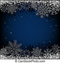 christmas background - Dark blue Christmas snow background...