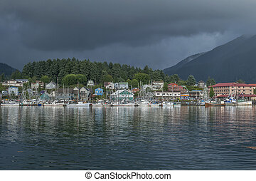 Sitka, Alaska - ANB Harbor and boats with reflections and...