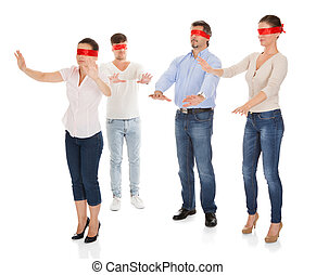 Group Of Disoriented People - Group Of A People With Red...