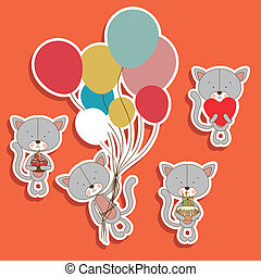 kitty design - kitty design over orange background vector...