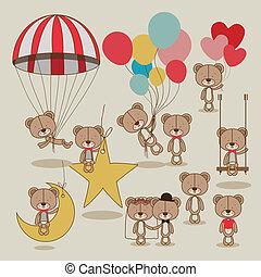 bears design over beige background vector illustration