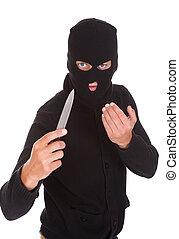 Burglar Holding Knife - Burglar Man In Balaclava Holding...