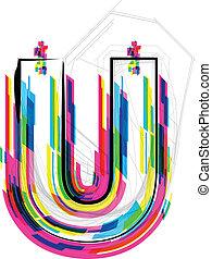 Font Illustration. LETTER U. Vector illustration