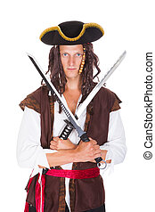 Pirate Holding Sword - Portrait Of A Young Pirate Holding...