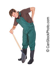 Male Gardener Suffering From Back Pain On White Background