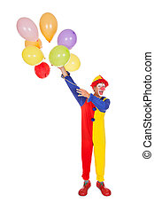 Happy Joker With Balloons - Portrait Of A Happy Clown With...