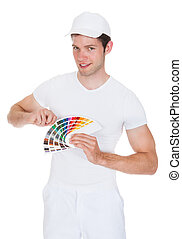 Young Man Holding Color Palette Isolated On White Background