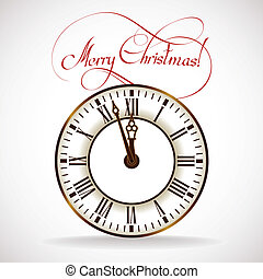 Christmas Time clock - Vector silhouette of the old clock...