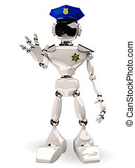 cop robot - 3d illustration of a cop robot on white...