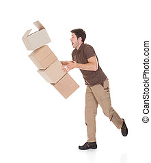 Delivery Man Dropping Boxes - Young Delivery Man Dropping...
