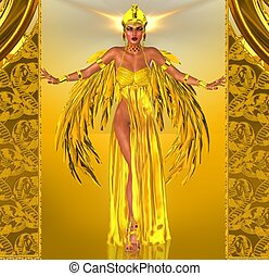Flight Into Egyptian Fantasy - Adorned in a rich gold dress...