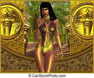Woman in leopard print bikini