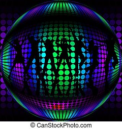 Disco Ball with silhouette dancers - Disco ball with...