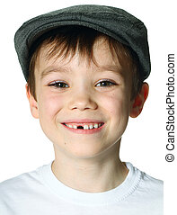 Boy with a hat - Young boy wearing a hat on white background
