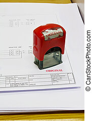rubber stamp marked with document original