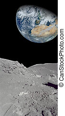 Looking at the earth from our moon - Image of the earth from...