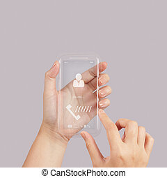 hand use modern Touch screen mobile phone with social network icon as concept