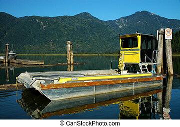 Barge docked at Pitt Lake - Barge at the dock at Pitt lake