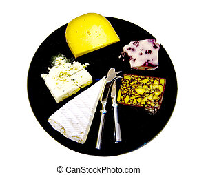 Cheese tray - Assorted cheeses on a black cheese tray with...