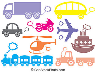 Transport icons - Colorful means of transport icons isolated...